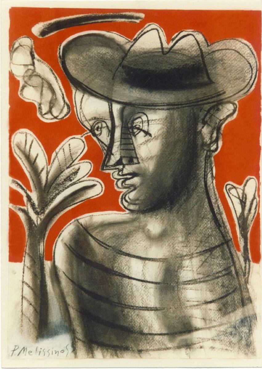 """""""Οιδίπους"""" έργο Παντελή Μελισσινού σε μεικτή τεχνική με κάρβουνο και ακρυλικά σε χαρτί"""